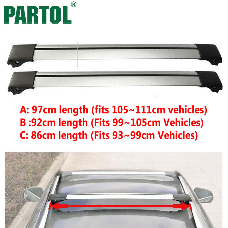 Partol 2pcs Car Roof Rack Cross Bars Top Roof Box Luggage ...