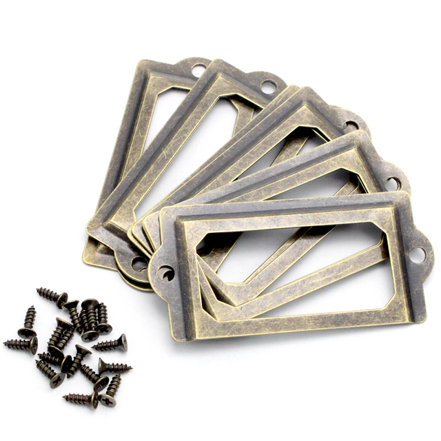 Lucia crafts 5pcs/lot Antique Brass Metal Label Pull Frame Handle File For Furniture Cabinet Drawer Box Case Bin 048011071