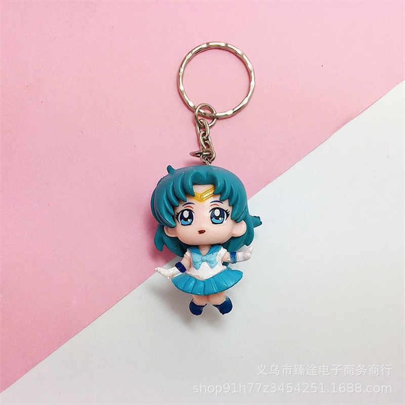 2018 O Novo 1 pcs adorável Sailor Moon resina Chaveiro Anel Chave Dos Desenhos Animados Saco chave Do Carro cadeia Chaveiro Presente Para mulheres