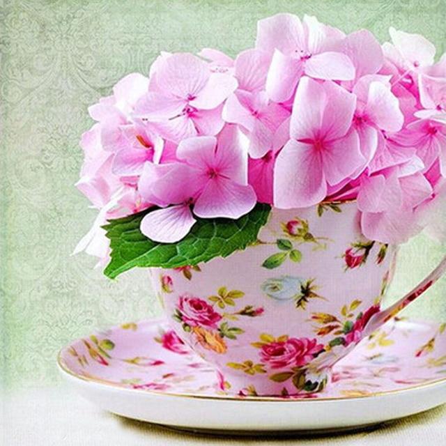 Cup Pink Flowers Image Full Diamond Round Mosaic Diy 5d Diamond
