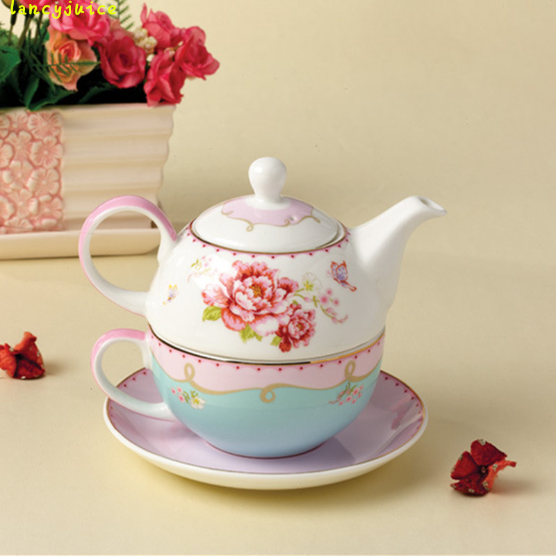 Creative Rose Ceramic Teapot Cup And Saucer New Bone China