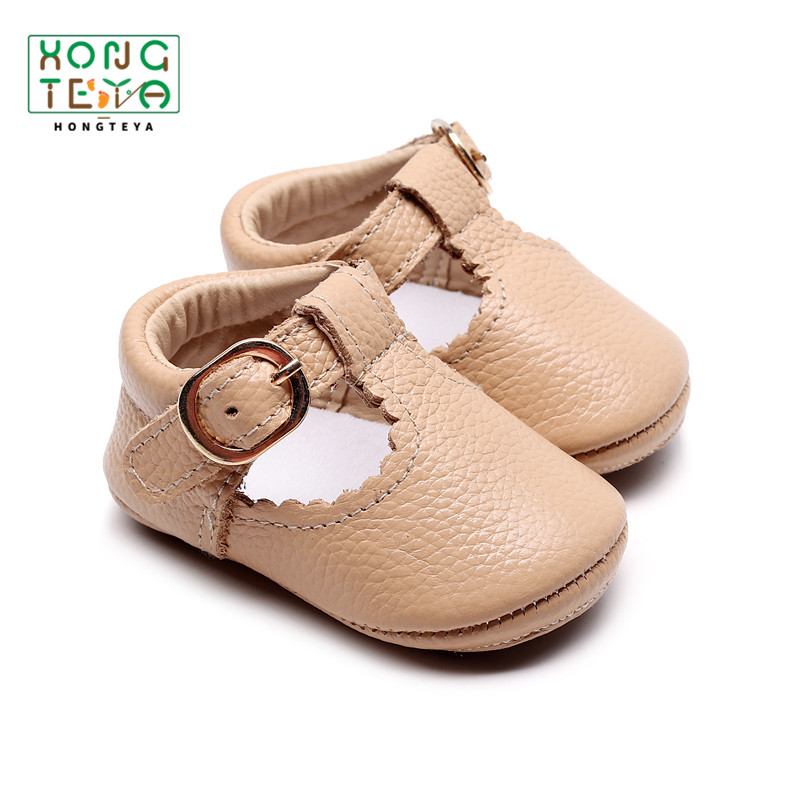 2020 Genuine Leather T-bar Mary Jane Baby Girls Shoes Infants Toddler Baby Princess Ballet Shoes Newborn Crib Shoes Hard Sole