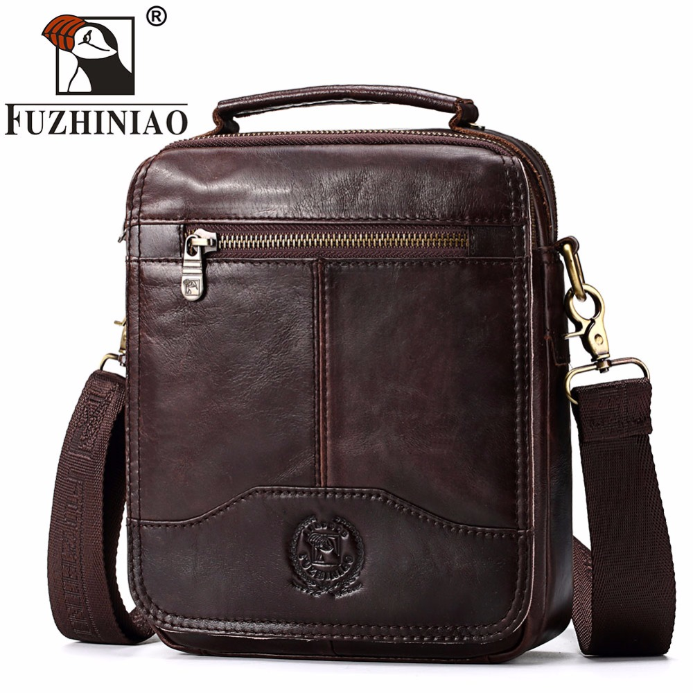 FUZHINIAO HOT 2018 High Quality Messenger Bags Genuine Leather Bag Men Small Travel Brand Crossbody Shoulder