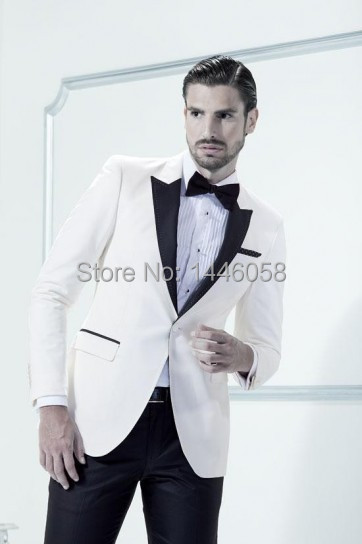 Mens 3 Piece Suits White Tuxedo Jacket Black Lapel Custom Made Best Man Suit Wedding Groomsman