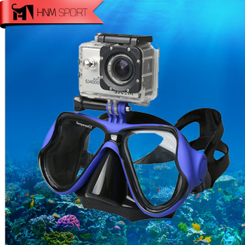2017 New Professional Underwater Diving Mask Scuba Snorkel Swimming Goggles for GoPro Xiaoyi Sports Camera Full Dry Eyewear