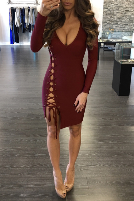 Sexy Long Sleeve Bodycon Hollow Out Dress For