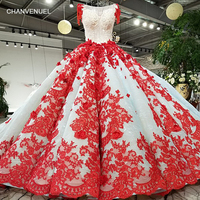 LS93241 ball gown red flowers party dress o neck short sleeve lace up back pleat puffy dress for wedding party 2018 wholesale