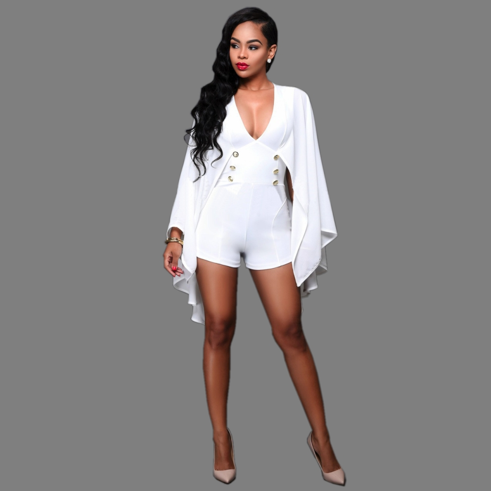 FK1529 Lady Fashion Playsuits Overalls Barboteuse Chiffon Ruffle Cloak Sleeve Deep V-neck Lines Buttons One piece Jumpsuits