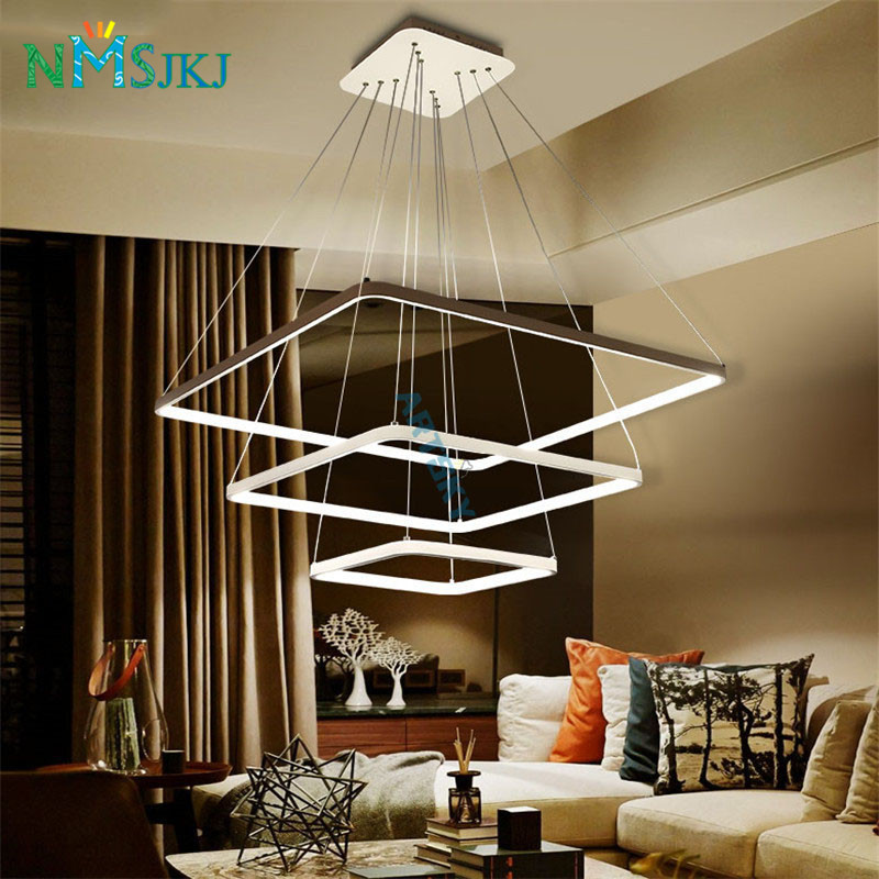 Modern LED Simple Pendant Lights Lamp For Living Room 3 2 1 Square Rings Acrylic Lustre Ceiling Fixtures In Chandeliers From