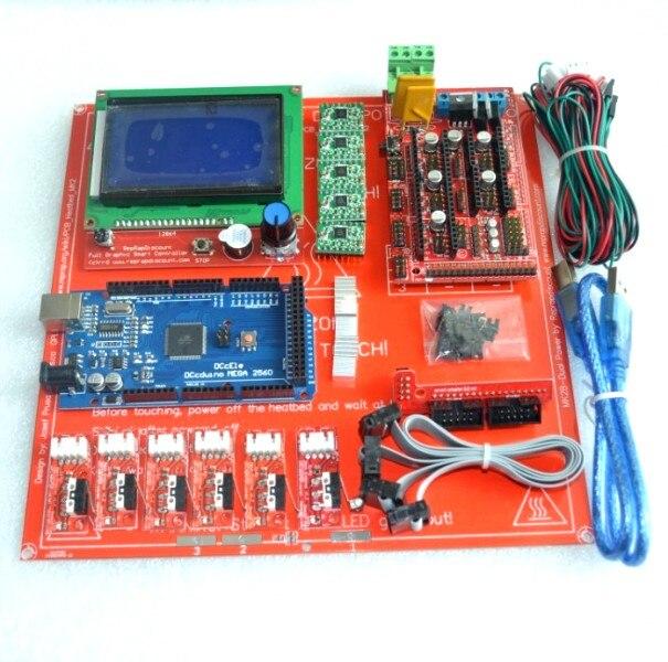Reprap Рампы 1,4 комплект с МЕГА 2560 r3 + Heatbed mk2b + 12864 ЖК-дисплей контроллер + A4988 Драйвер + Концевики + кабели для 3D-принтеры