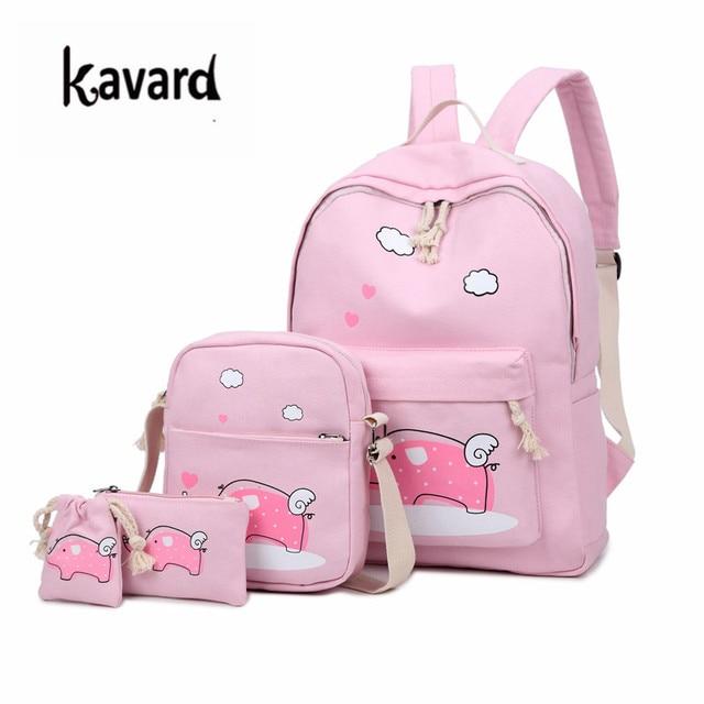 dae7b4e8a528 Girl School Bags For Teenagers backpack set women shoulder travel bags 3  Pcs rucksack mochila knapsack Canvas Rucksack Bookbag