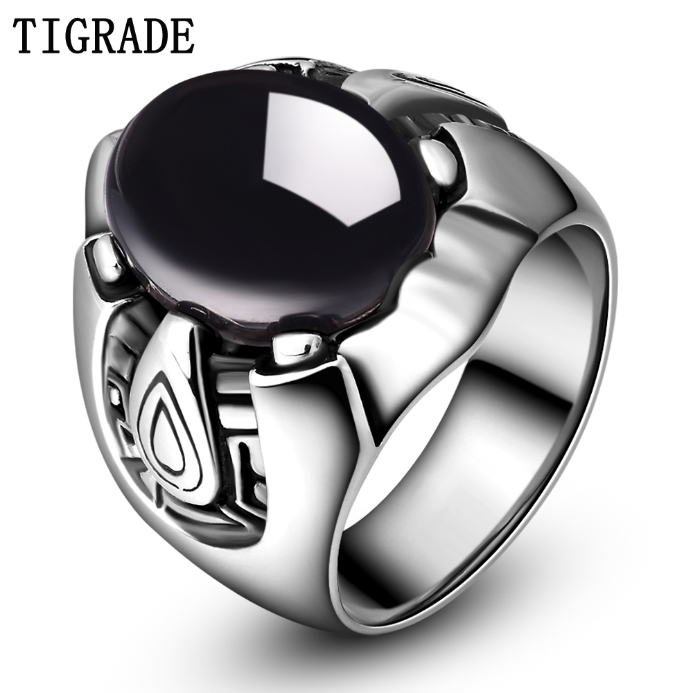 TIGRADE Herr svart rostfritt stål ring Big Stone Cubic Zirconia Wedding Band Man Punk smycken Comfort Fit anillo hombre