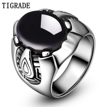 TIGRADE Mens Black Stainless Steel Ring Cubic Zirconia Wedding Band Male Punk Jewelry Comfort Fit
