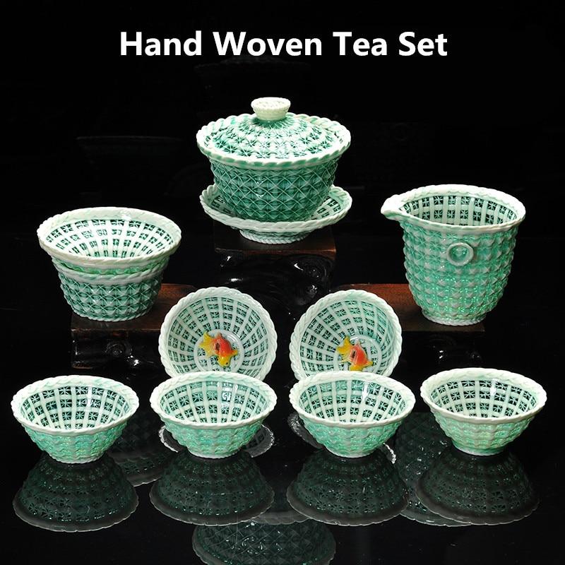 Nouveauté exquis creux en céramique Kung Fu thé ensemble tissé à la main thé ensembles haute porcelaine blanche argile thé cadeau livraison gratuite