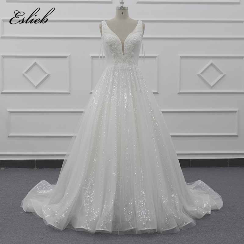 Eslieb Beautiful Wedding Dress 2019 Elegant A Line Deep V