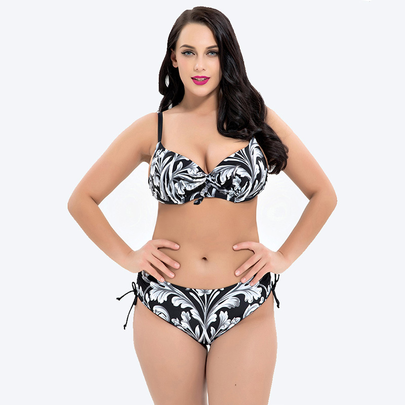 <font><b>2018</b></font> New Size Push Up <font><b>bikini</b></font> <font><b>Set</b></font> Brazilian <font><b>Floral</b></font> Print <font><b>Sexy</b></font> Bathing Suit <font><b>High</b></font> <font><b>Waisted</b></font> Big Chest <font><b>Swimwear</b></font> Large Size <font><b>Bikini</b></font> <font><b>Set</b></font> image