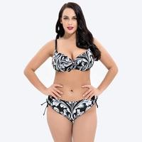 2018 New Size Push Up bikini Set Brazilian Floral Print Sexy Bathing Suit High Waisted Big Chest Swimwear Large Size Bikini Set