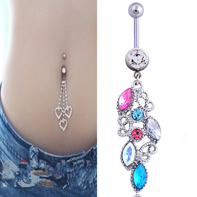 buy crystal colorful belly button rings