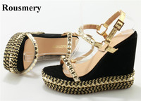 High Quality Women Fashion Gold Spike High Platform Wedge Sandals Cut Out Rivet Ankle Strap Wedge