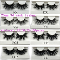 Mikiwi 25mm Mink False Eyelashes 25/50/75/100 pc Wholesale 3D Mink Lashes big white tray Label Makeup Dramatic Long Mink Lashes