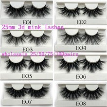 Mikiwi 25mm Mink False Eyelashes 25/50/75/100 pc Wholesale 3D Mink Lashes big white tray Label Makeup Dramatic Long Mink Lashes(China)