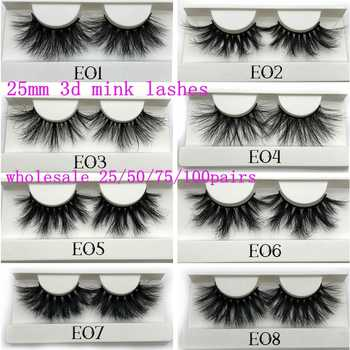 Mikiwi 25mm Mink False Eyelashes 25/50/75/100 pc Wholesale 3D Mink Lashes big white tray  Label Makeup Dramatic Long Mink Lashes - DISCOUNT ITEM  52% OFF All Category