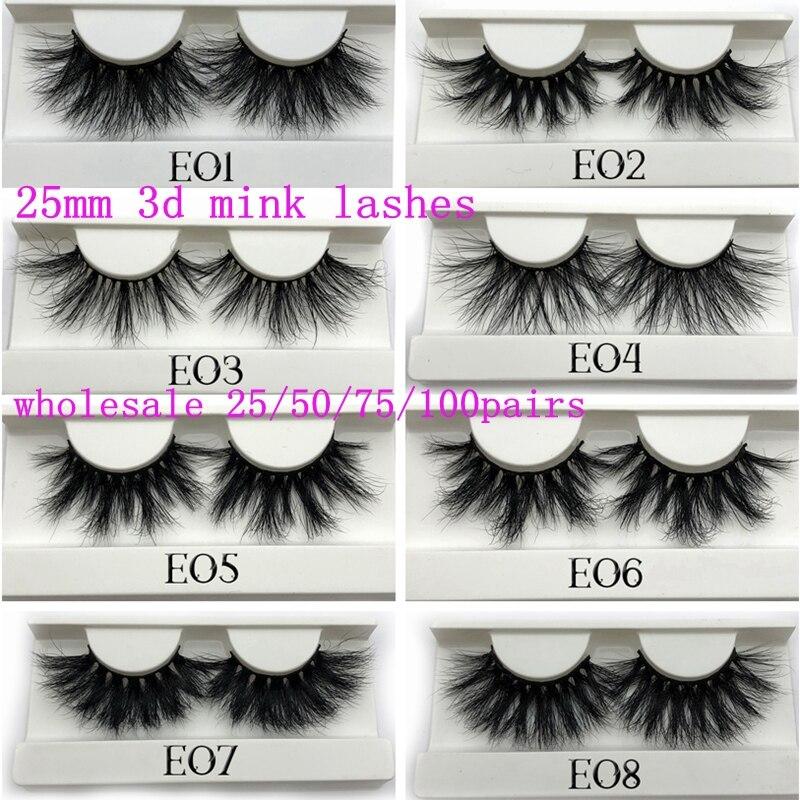Pestañas postizas Mikiwi 25mm Mink 25/50/75/100 pc al por mayor pestañas de visón 3D blanco grande bandeja etiqueta maquillaje pestañas largas de visón dramáticas