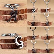 2019  1PC New Simple Key Chain Silvery Metal Key Holder  Party Gift A-Z Letters Car Key Ring Unisex цены