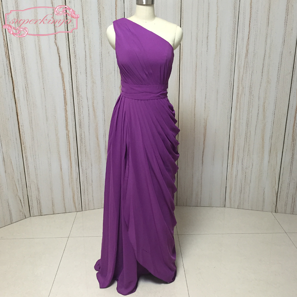 Superkimjo Purple Bridesmaid Dresses One Shoulder Pleat D Chiffon A Line Long Maid Of Honor Wedding Party