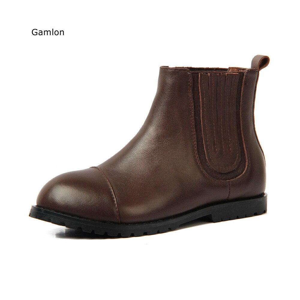 Gamlon Genuine Leather Girls Boys Boots 2017 New Autumn Spring Children Martin Boots Fashion Shoes Leisure Single Boys Boot цена 2016