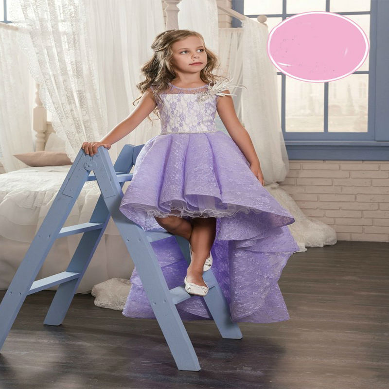 New First Communion Dresses Asymmetrical Little Girls Dresses Lace Girls Dresses for Party and Wedding Mother Daughter Dresses