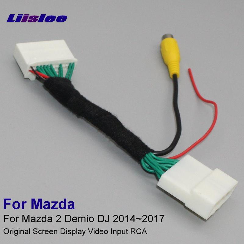 Liislee 원래 비디오 입력 스위치 RCA 어댑터 커넥터 컨버터 케이블 Mazda 2 Demio DJ 2014 ~ 2017 용 후면 케이블