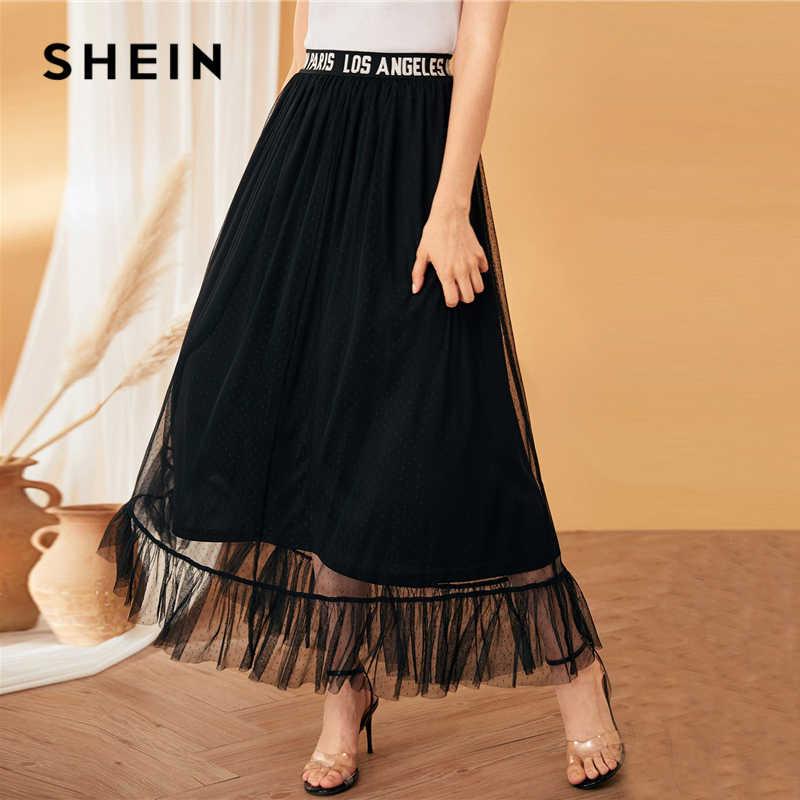 SHEIN negro Casual carta cinta cintura malla sobrepuesto volantes dobladillo Faldas Mujer verano otoño sólido cintura alta una línea larga falda