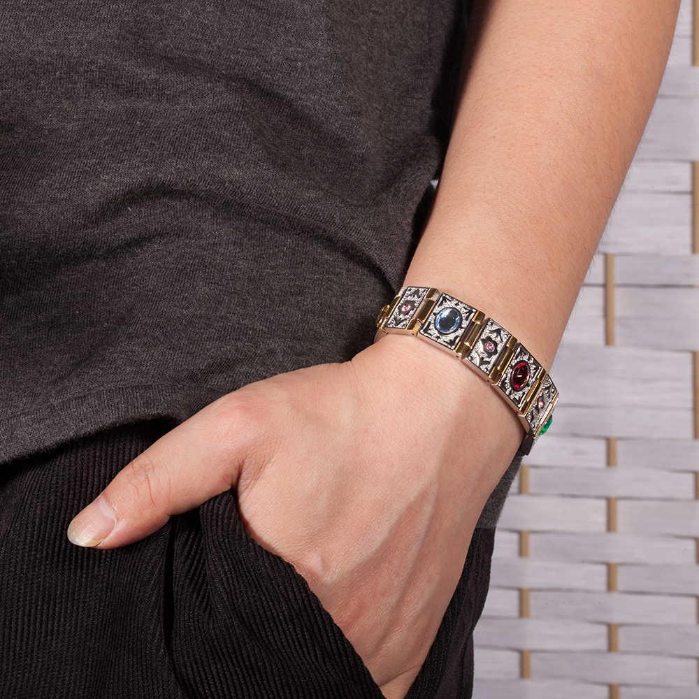 Vinterly opaska na nadgarstek bransoletka magnetyczna mężczyzn ze stali nierdzewnej złoty kolor łańcucha bransoletki bransoletki kryształ germanu energii bransoletki