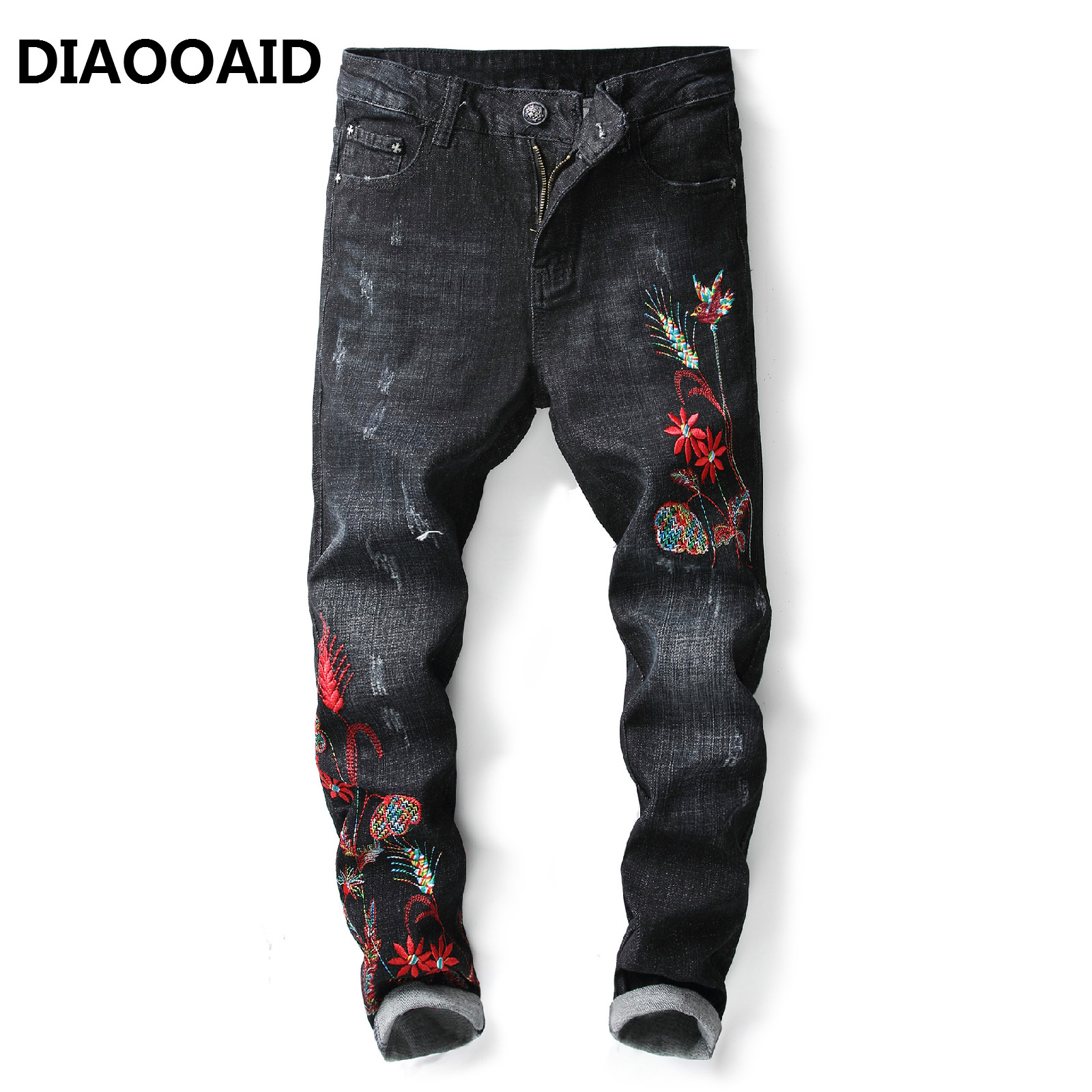 2018 New Embroidery Old Nine Men's Jeans Embroidered Slim Straight Black Embroidered Classic Personality Elastic Denim Trousers
