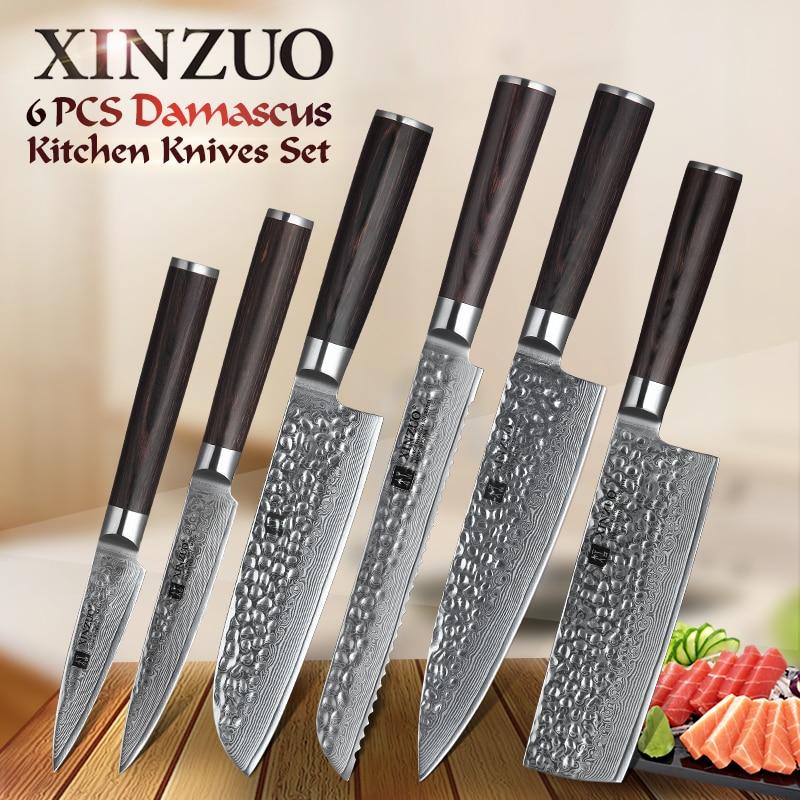 XINZUO 6PCS Kitchen Knives Set High Carbon VG 10 Japanese Damascus Steel Chef Bread Nakiri Santoku