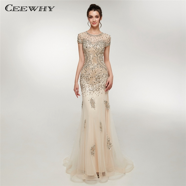 CEEWHY O-Neck Vintage Evening Dress Turkey Long Evening Dresses Beaded  Mermaid Dress Abiye Gece Elbisesi Vestido de Festa Longo 186c28173369