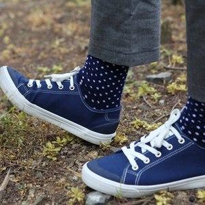 Image 5 - Классические хлопковые носки в горошек для мужчин, повседневные носки с узором ромбиками, размеры 7,5 12 (5 пар/партия) США