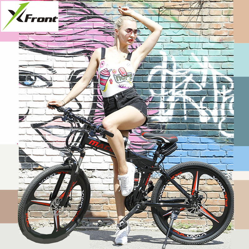 X-Front Mountain Bike 24/26 Inch Wheel Carbon Steel 21/24/27 Speed Outdoor Downhill BTX Bicicleta Disc Brake Foldable Bicycle
