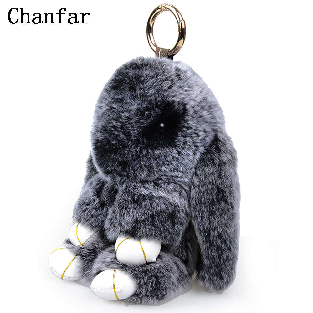 18CM Fluffy Bunny Keychain Real Rex Rabbit Fur Keychain For Women Hand Bag  Pendant Car Charm bf3cceaf1b95