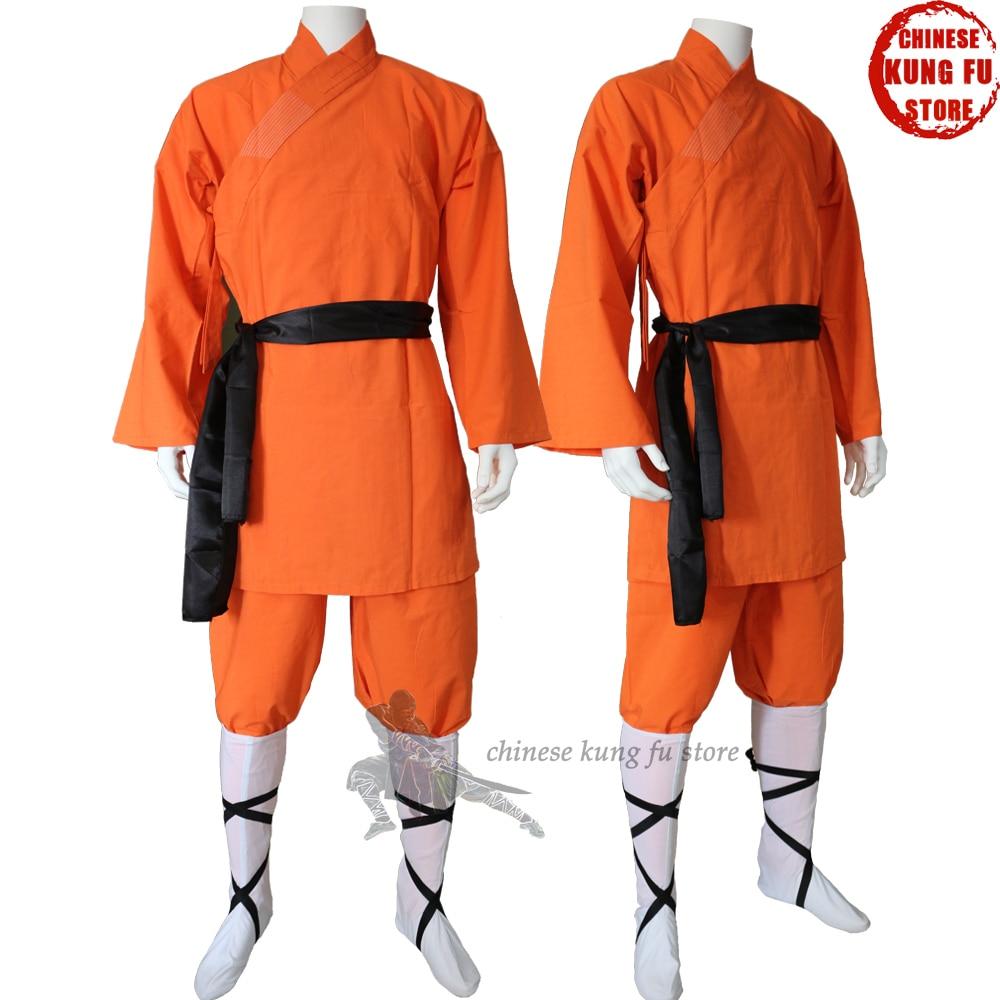 Children Adults Orange Cotton Shaolin Monk Kung Fu Robe Martial Arts Suit Tai Chi Wing Chun Uniforms