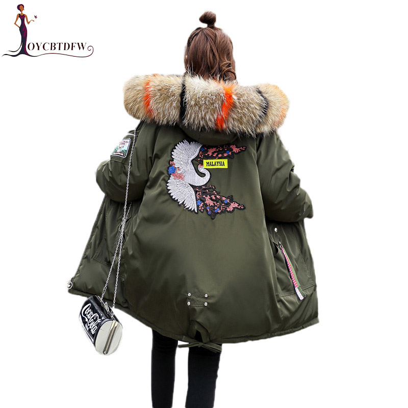 Winter Jackets Women Coats Big fur collar Hooded Wadded Jacket Embroidery Long   Parkas   Women Thicken Warm Cotton Jackets LDT688