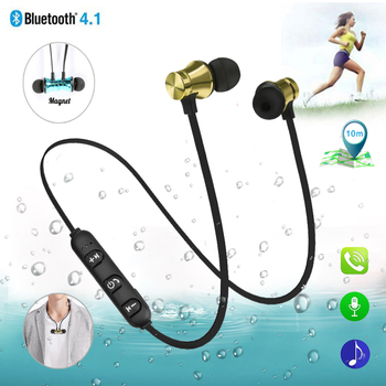 Teamyo luetooth Earphone Magnetic Headphones XT-11 Wireless Sports Headset Bass Music Earpieces with Mic Headset For Samsung magnetic attraction bluetooth earphone headset waterproof sports 4.2