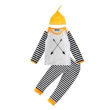 boy clothing set 3pcs 2017 fashion cap+arrow t shirt+stripe pants baby clothes spring autumn striped toddler boys clothing sets
