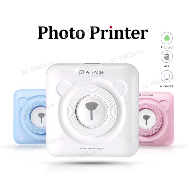 Mini impresoras térmicas Bluetooth pegatinas de impresora fotográfica de bolsillo impresoras térmicas portátiles 58mm para sistema de PC Andproid e iOS