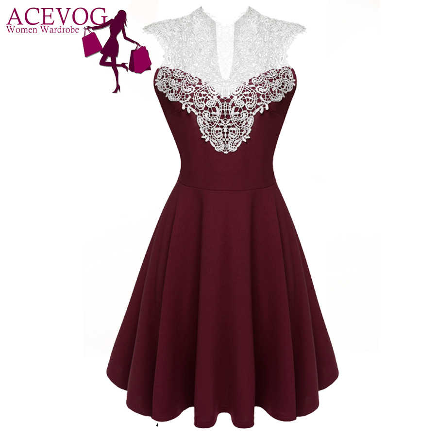 ACEVOG Women Summer Lace Dress Sexy vestidos 2018 Lady Sleeveless Lace  Patchwork High Waist Pleated Casual 1c1fb233f