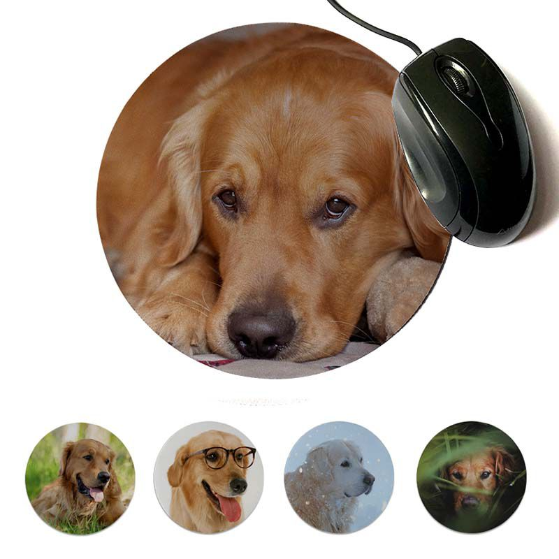 MaiYaCa  Retriever Golden Unique Desktop Pad Game Mousepad 20x20cm 22x22cm Diameter Round Mouse Pad