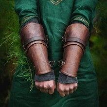 Pulseira para cosplay de 1 par, pulseira larga de couro falso, com braço de renda, armadura, corda cruzada, luva medieval steampunk