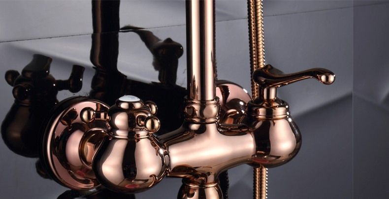 Dofaso luxury Oil Rubbed Bronze Bathroom Shower Faucet Kit Rose Golden Wall Mount Bath shower set mixer in Shower Heads from Home Improvement
