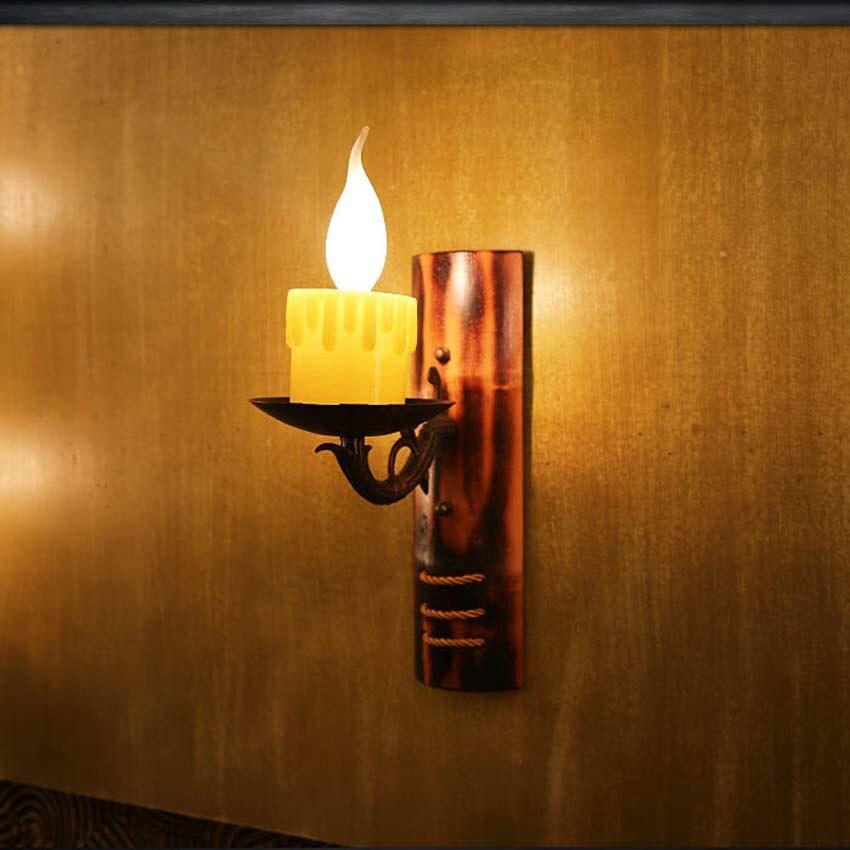 Здесь продается  Europea retro creative candle bamboo wall lamp,Resin lampholder Iron bracket bamboo vintage sconce for corridors cafe bar deco  Свет и освещение